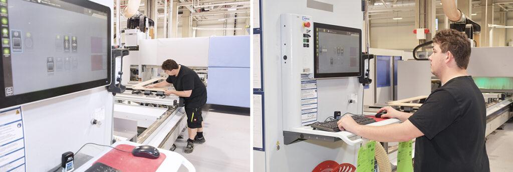 Holzmechaniker bedienen moderne CNC-Maschinen